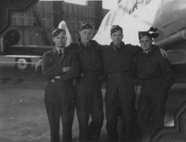 Student pilots at No. 2 S.F.T.S. Uplands - Instructor Dove's four students