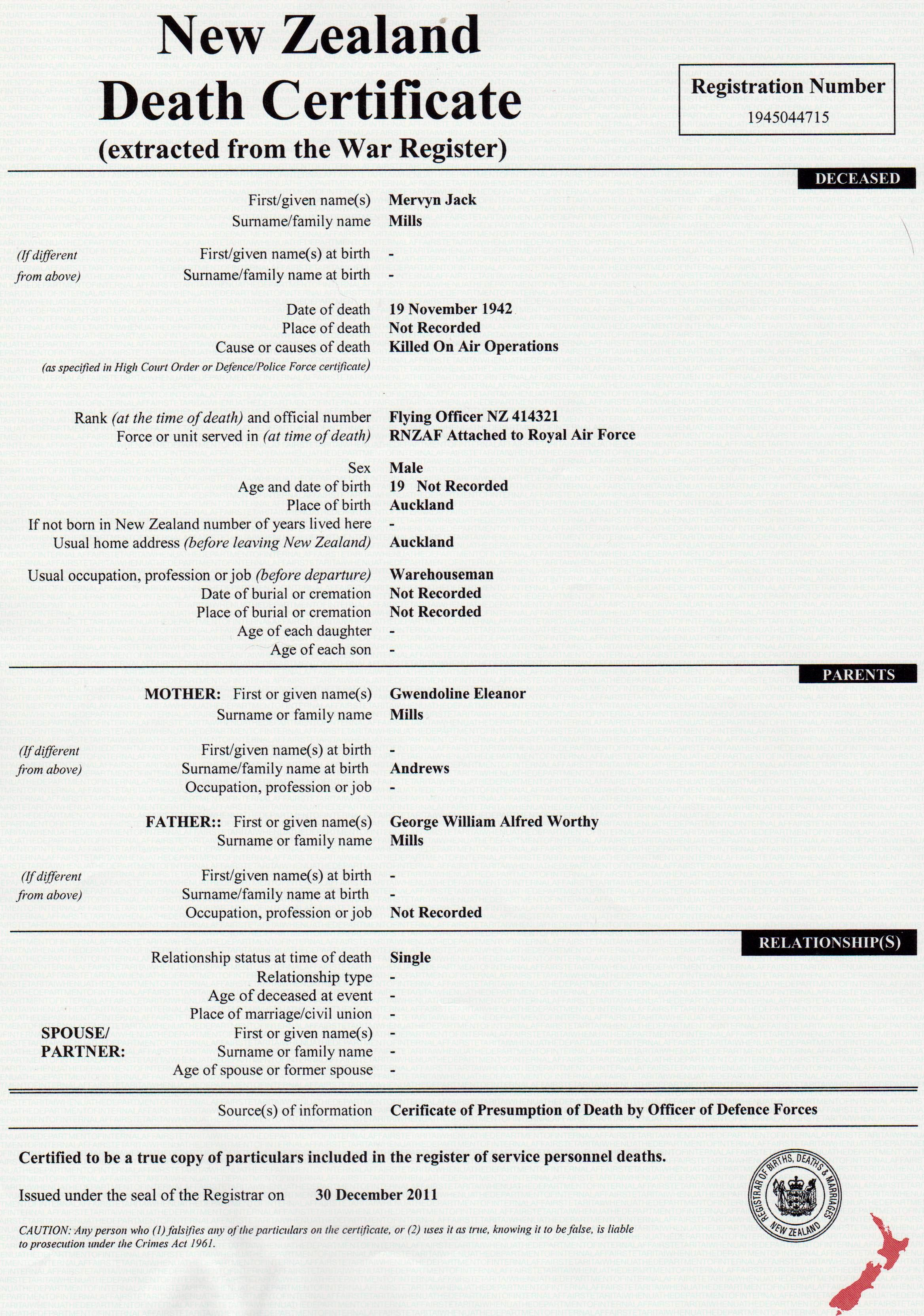 Death certificate of mj mills british commonwealth air training plan death certificate of mj mills aiddatafo Images