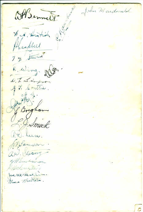 Mervyn Jack Mills banquet document