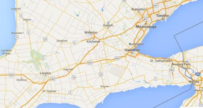 Google map showing St. Thomas, Ontario
