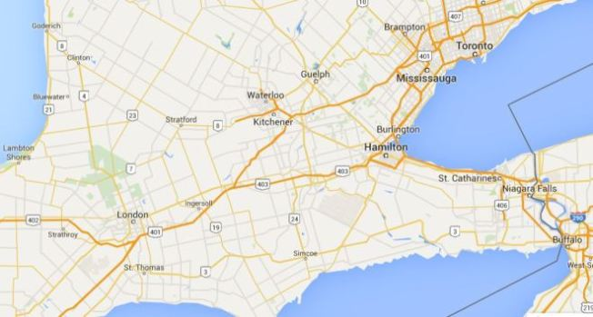 Google map showing St. Thomas, Ontario