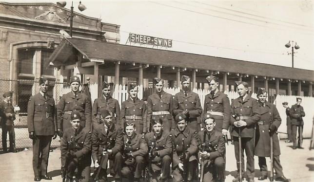 Security Guard Training, #1 Manning Depot, Toronto, 1941 (Frank Sorensen, kneeling, 2nd from left) - Copy