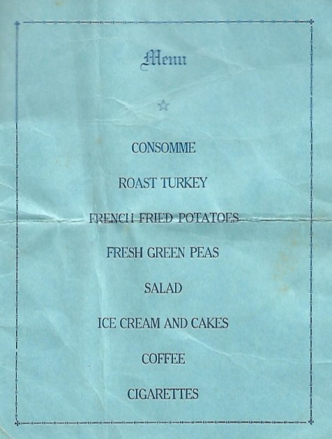 Graduating Banquet 26 August 1941 menu