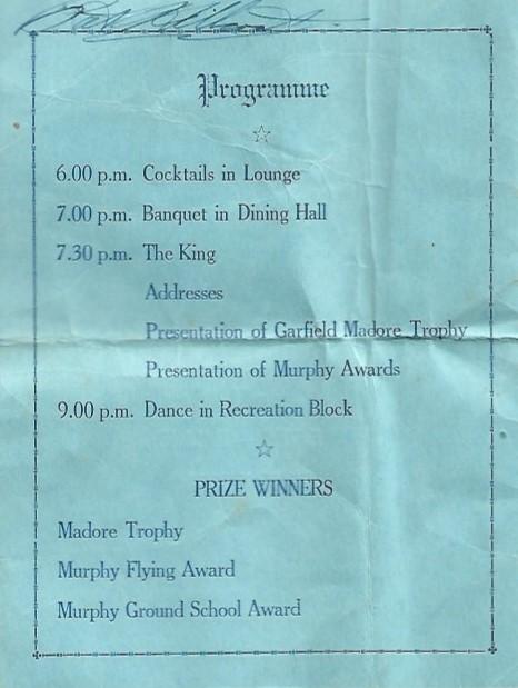 Graduating Banquet 26 August 1941 programme