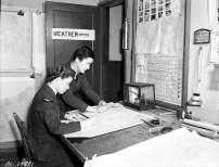 PL-12922 11 December 1942 #9 Bombing & Gunnery Mont Joli Qc., Meteorologist, Trained at the University of Toronto, airwomen meteorological observers work in the weather control tower on many stations, usually on shifts that add up to twenty-four hours a day.